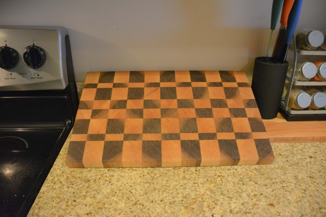 Clean your cutting board thoroughly on both sides and allow to dry